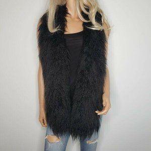 CAbi Black Infinite Faux Fur Open Front Vest